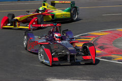 Formula E. Two Formula E cars hairpin royalty free stock image