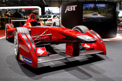 Formula E Geneva 2014. Geneva, 84th Salon de lAuto 2014 ABT presents officially at the autoexpo the single seater that FIA is promoting to start in fall 2014 stock image