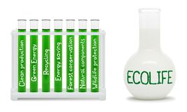 Formula of eco life. Concept with green and white flasks. Stock Photo