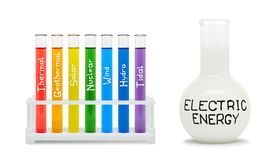 Formula of electricity. Concept with colored flasks. Stock Images