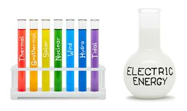 Formula of electricity. Concept with colored flasks. Stock Photo