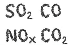 Formula emissions from pieces of coal Royalty Free Stock Photos