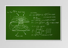 Formula and graph on a board Royalty Free Stock Images