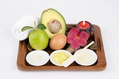 Free Formula Hand Scrub With Avocado, Oatmeal, Egg Whites And Lemon Juice. Stock Photos - 33832563