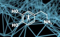 Formula hormone dopamine. Chemical molecular formula hormone dopamine. Infographics illustration. Man silhouette. Molecule and communication background. 3D royalty free illustration