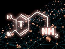 Formula hormone dopamine. Chemical molecular formula hormone dopamine. Infographics illustration. Man silhouette. Molecule and communication background. 3D stock illustration