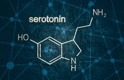 Formula hormone serotonin. Chemical molecular formula hormone serotonin. Infographics illustration royalty free stock image