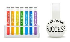 Formula of learning success. Concept with colored flasks. Stock Images
