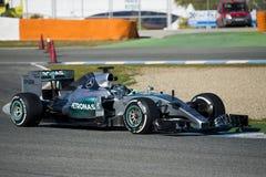 Formula 1, 2015: Nico Rosberg. JEREZ DE LA FRONTERA, SPAIN - FEBRUARY 01: Nico Rosberg, pilot of the team Mercedes in test Formula 1 in Circuito de Jerez on feb Stock Images