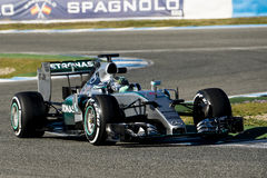 Formula 1 2015: Nico Rosberg. JEREZ DE LA FRONTERA, SPAIN - FEBRUARY 01: Nico Rosberg, pilot of the team Mercedes in test Formula 1 in Circuito de Jerez on feb Royalty Free Stock Photos