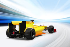 Formula one car. Driving at high speed in empty road - motion blur Stock Image