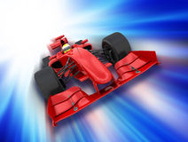 Formula one car. 3D render of a formula one car on a motion background Stock Photos