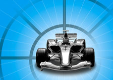 Formula one car. In black, blue and chrome Royalty Free Stock Image