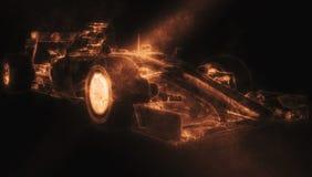 Formula One Car - Orange Smoke. 3D Illustration vector illustration