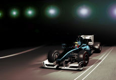 Formula one. Car in a race, coming out from a lighted tunel Royalty Free Stock Images
