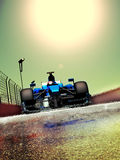 Formula one. Car, running under high temperatures, where the heat of the sun blurs the asphalt and the car vector illustration
