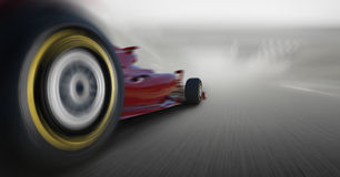Formula one car speeding. Close up with formula one car royalty free stock image