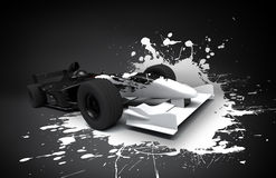 Formula one car splash. Formula one car with white splash stock illustration