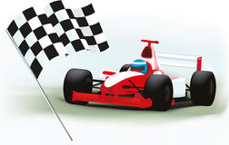 Formula One and checkered flag Stock Photo
