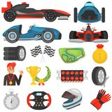 Formula one color flat icons set. For web and mobile design Royalty Free Stock Images