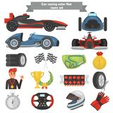 Formula one color flat icons set. For web and mobile design Royalty Free Stock Photos
