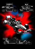 Formula one. Different views of formula one car on an abstract background royalty free illustration