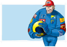 Formula One driver, with helmet Royalty Free Stock Photography