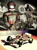 Formula one driver. Poster presentation of a formula one driver, his car, and an dreadful accident in the background, as a reminder of a crucial moment in his Royalty Free Stock Photo