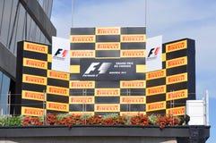 Formula One podium. June 10, 2012 - Formula One podium of Canadian Grand Prix in Circuit Gilles Villeneuve, Montreal, Quebec, Canada Stock Photo