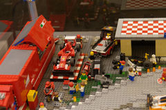 Formula One. Race car built from Lego bricks Royalty Free Stock Photos