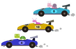 Formula one race. A group of animals having a formula one race vector illustration