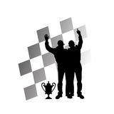 Formula one race winners. Vector illustration as silhouette of race winners with trophy and checkered flag as background Royalty Free Stock Photo