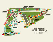 Formula one racing track in Abu Dhabi top view. UAE or United Arab Emirates race track for formula 1 in Yas Marina. May be used for track background or world Stock Photo