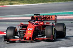 Formula One Test Days 2019 - Charles Leclerc. BARCELONA, SPAIN FEBRUARY 28, 2019: Charles Leclerc during Formula One Test days at Circuit of Barcelona-Catalunya stock image