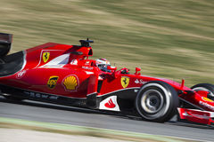 FORMULA ONE TEST DAYS - KIMI RAIKKONEN. Kimi Raikkonen of Ferrari at Circuit de Barcelona Catalunya on the third day of second round of Formula One test days, on Stock Photography