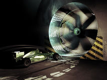 Formula one wind tunnel. Formula one car race testing its aerodynamic shape into an old and vintage wind tunnel Royalty Free Stock Photos