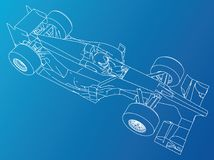 Formula race car. Abstract drawing. Tracing illustration of 3d.  Stock Photo
