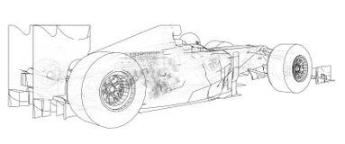 Formula race car. Abstract drawing. Tracing illustration of 3d.  Royalty Free Stock Photos