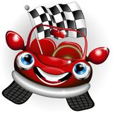 Formula 1 Racing Car Cute Happy Cartoon Character. Cute Formula 1 Racing Car Cartoon Character, looking very happy, like a Winner, and carrying a checkered flag royalty free illustration