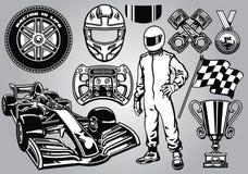 Formula racing set black and white Stock Photos