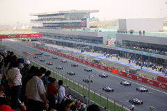 Formula 1 Racing Starting Grid. At the first ever Indian Grand Prix Royalty Free Stock Images
