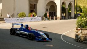 Formula Renault car at Bergamo Historic Grand Prix 2017. A Formula Renault car driving down the hairpin at the end of Boccola street in Citta` Alta the medieval Stock Photos