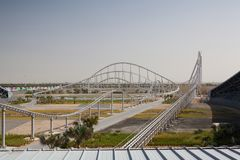 Formula Rossa, the fastest roller coaster in the world, Abu Dhabi. Abu Dhabi, United Arab Emirates - February 5,2012: Formula Rossa, the fastest roller coaster stock photos