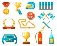 Formula 1 auto sport set of racing icons color poster. Formula 1 set special track for fast cars, sporty helmet and golden awards for competitions winners Royalty Free Stock Photo