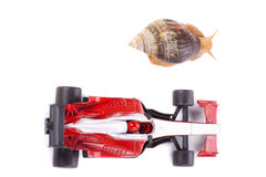 Formula 1 Snail race from above Stock Photos
