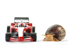 Formula 1 Snail race Royalty Free Stock Images