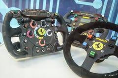 Formula steering wheels. Ferrari steering wheels in museum Stock Image