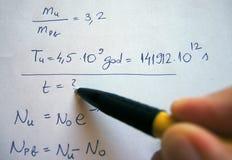 Formula su esame scritto a mano Immagine Stock