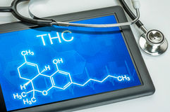 Formula of THC. Tablet with the chemical formula of THC Stock Photography