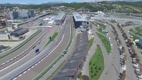 The formula 1 track in Sochi, the Olympic village in Sochi. Building site of stadium for racing near town and mountains Royalty Free Stock Photo